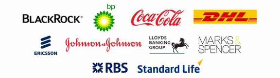 BlackRock, BP, Coca-Cola, DHL, Ericsson, Johnson&Johnson, Lloyds Banking Group, Marks&Spencer, RBS, Standard Life